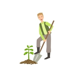 Guy Digging The Soil Around Plant vector