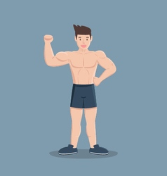 gym fitness muscular cartoon man vector image