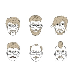 hair and beard on sketch vector image