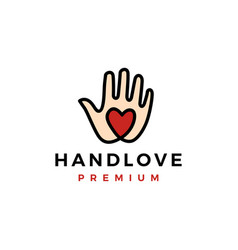 hand love palm care heart logo icon vector image