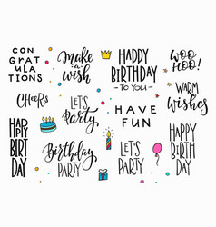 Happy birthday party lettering typography set vector