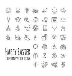 happy easter thin line icons big set modern vector image