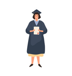 Happy female student holding diploma flat vector