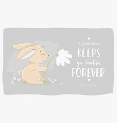 hare with a flower vector image