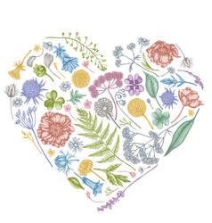 Heart floral design with pastel shepherd s purse vector
