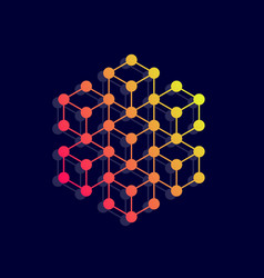 hexagon icon network connections vector image