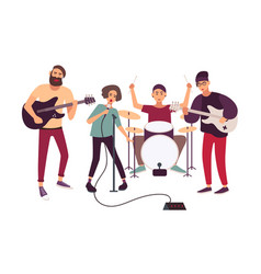 indie rock music band performing on stage or vector image