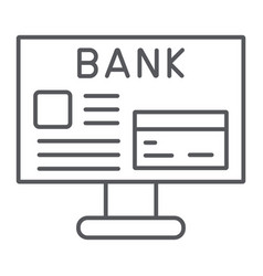 internet banking thin line icon finance and vector image