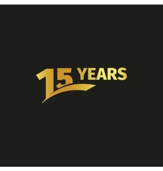 Isolated abstract golden 15th anniversary logo on vector image