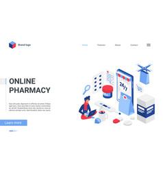 isometric online pharmacy store concept cartoon vector image
