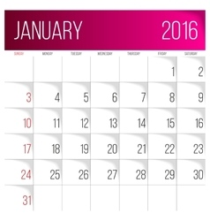 January 2016 planning calendar vector image