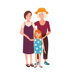 Lesbian couple standing with daughter pair of vector
