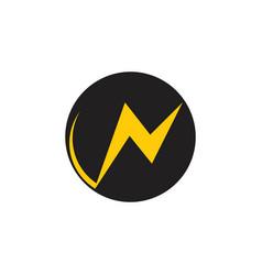 letter n thunder shape circle logo vector image