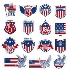 Made in usa labels emblems with american symbols vector
