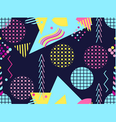 Memphis seamless pattern geometric elements vector