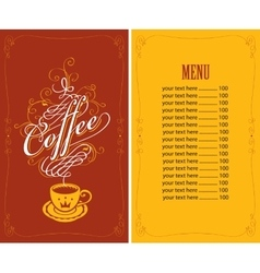 menu for a cafe with a cup of coffee vector image
