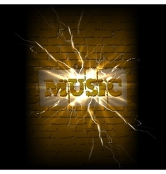 Music on a brick background crack vector
