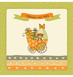 New baby announcement card with pram vector