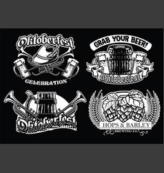 Oktoberfest badge set in black and white vector