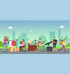 people selling and shopping second hand clothes vector image
