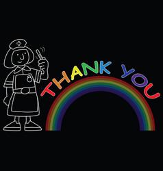 Rainbow symbol support with nurse vector