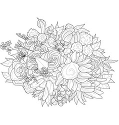 Realistic mix flowers bouquet with sunflower vector