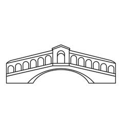 Rialto Bridge in Venice icon outline style vector