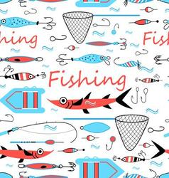 Seamless graphic design elements for fishing vector image