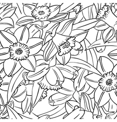 seamless pattern with narcissus vector image