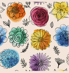 Seamless watercolor pattern with doodles flowers vector