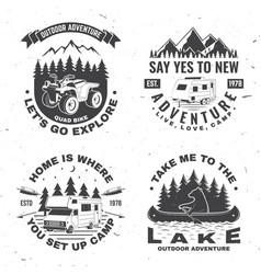 Set camping badges concept vector
