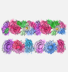 set of flower brushes with watercolor splashes vector image