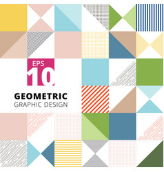set of geometric graphic design colorful pattern vector image