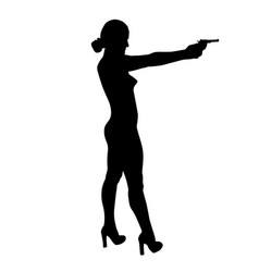 Shooting girl silhouette vector