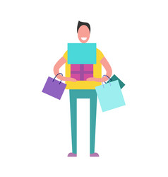 shopping man with presents vector image