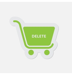 simple green icon - shopping cart delete vector image