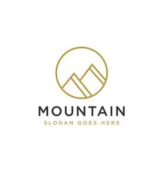 simple mountain summit logo mountain peak logo vector image