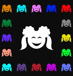 smiling girl icon sign Lots of colorful symbols vector image