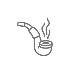 smoking pipe line icon vector image