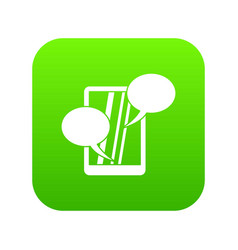 speech bubble on phone icon digital green vector image
