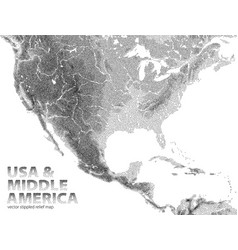 Stippled relief map usa and middle america vector