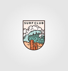 Surf club emblem logo design ocean wave logo vector