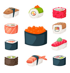 Sushi japanese cuisine traditional food flat vector