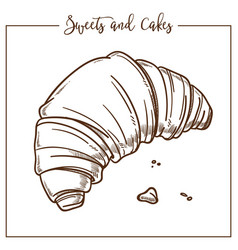 Sweets and cakes croissant made according to vector
