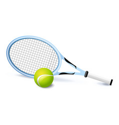 tennis racket and green ball icon isolated sports vector image