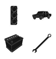Traffic light old car battery wrench car set vector