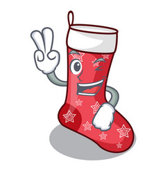 Two finger cartoon christmas socks for gifts vector