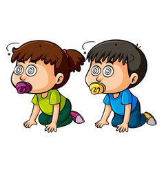 two toddlers with dizzy eyes vector image