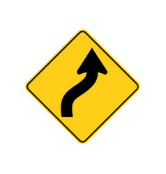 usa traffic road sign just ahead the road curves vector image