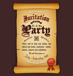 Vintage invitation on parchment vector